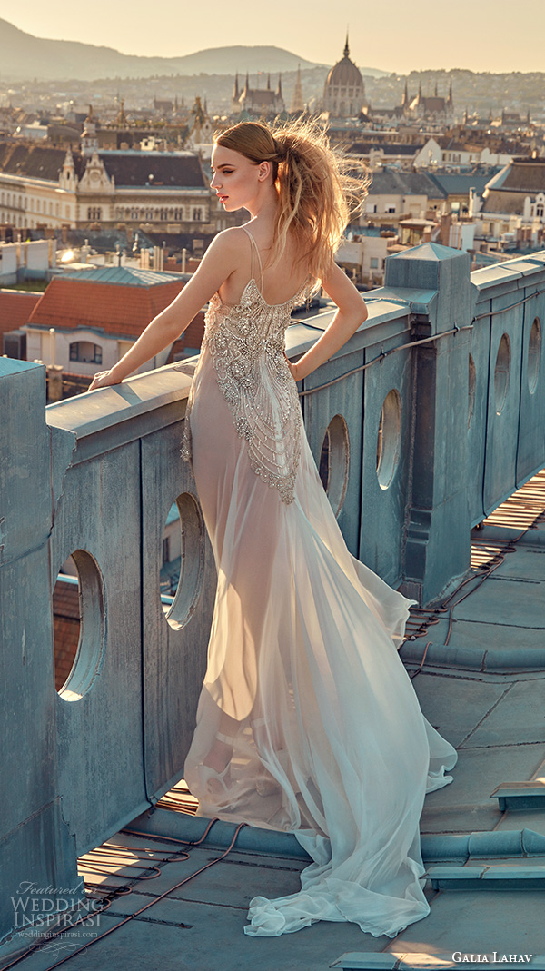 galia lahav gala fall 2016 bridal gowns sexy sleeveless spagetti strap wedding dress embellished slip mini dress with full length sheer underskirt style 605 back