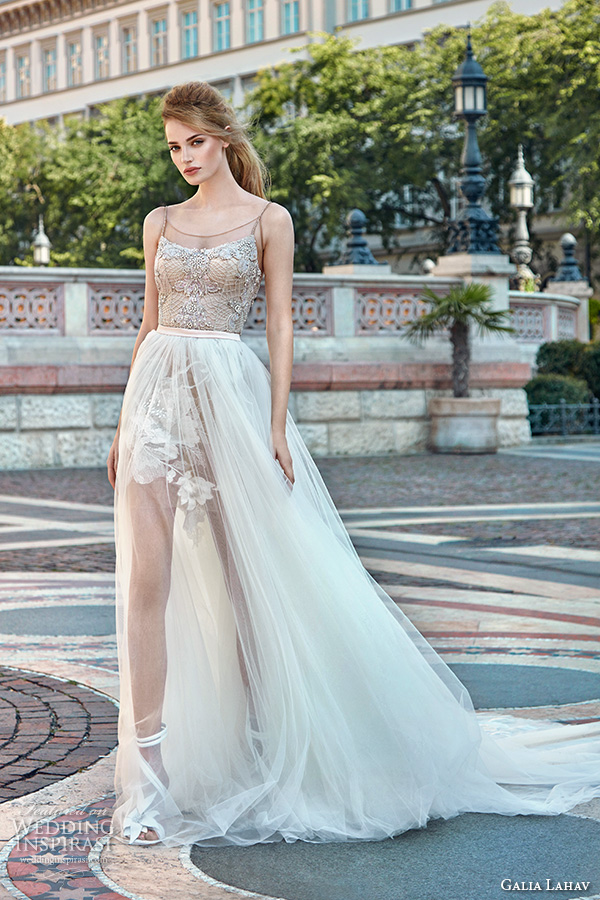 galia lahav gala fall 2016 bridal gowns short mini wedding dress with full length illusion see through overskirt spagetti strap slim fit embellished bodice style 611