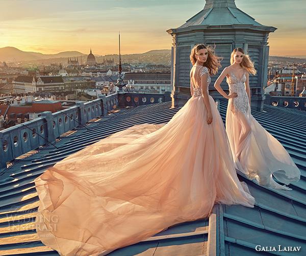 galia lahav gala fall 2016 bridal gowns stunning wedding dresses blush pink ball gown short mini skirt full length see through overskirt style 605 n 607
