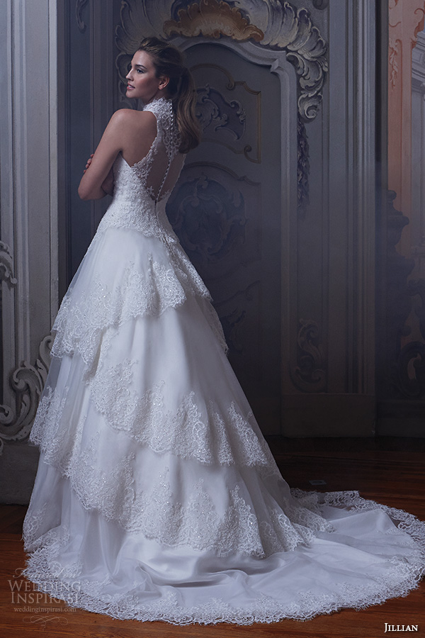 Jillian 2016 Bridal Gowns Halter Neck Tiered Ball Gown Wedding Dress Beaded Lace Embroidered Bodice And