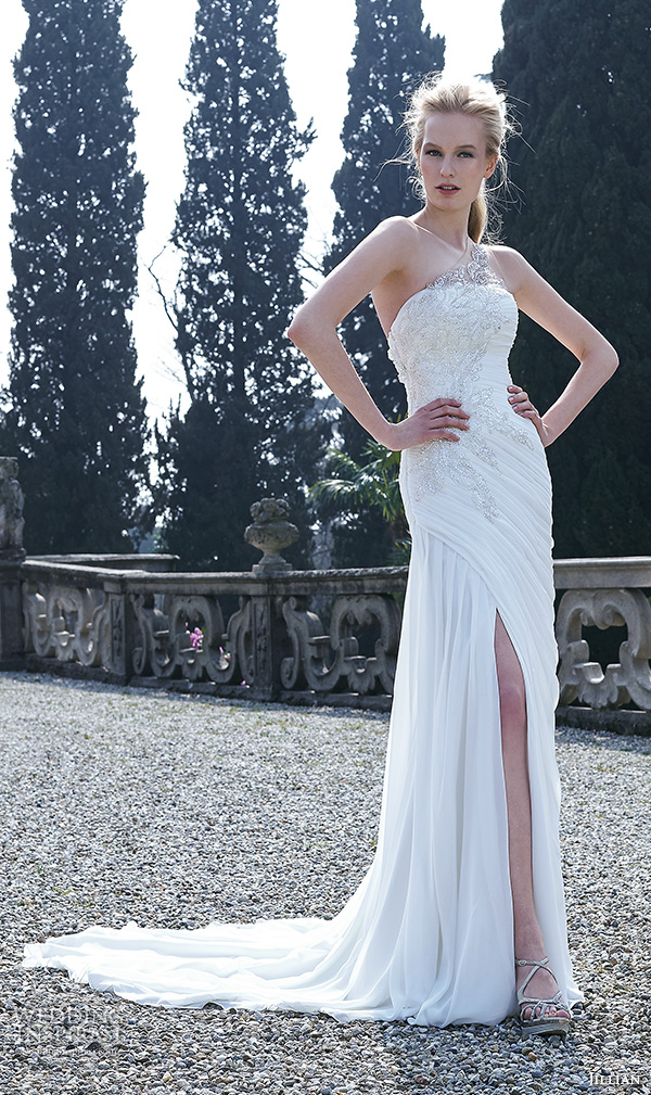 Jillian 2016 wedding dresses bambu bridal collection for Sheath wedding dress with beading and side drape