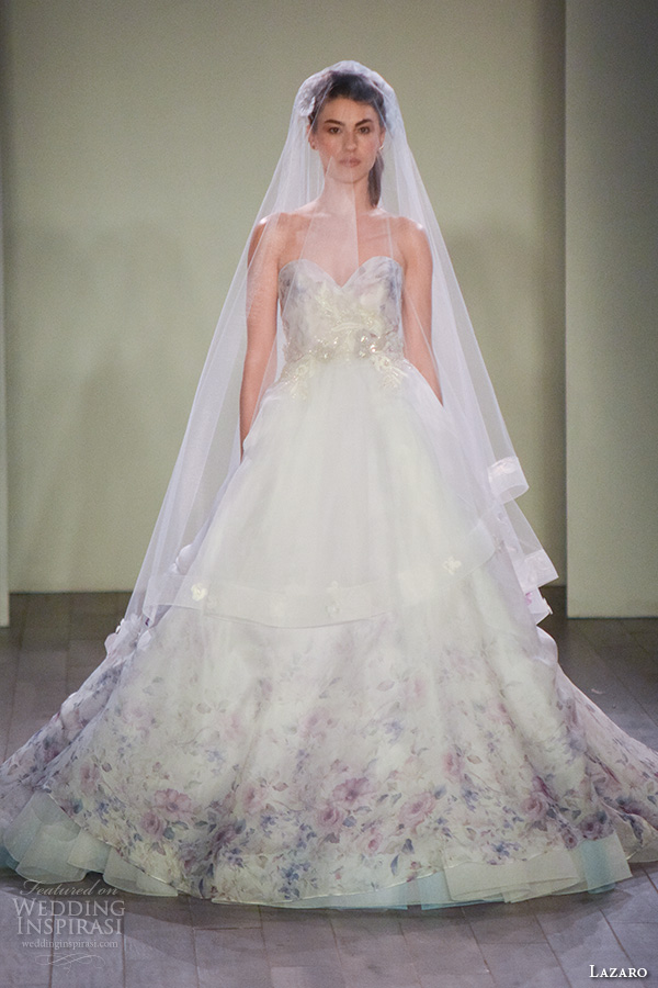 Floral Print Wedding Dresses 80 Beautiful lazaro fall bridal fashion