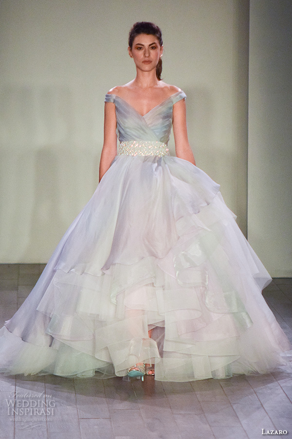 lazaro fall 2016 bridal fashion week beautiful pretty a  line ball gown wedding dress ombre wisteria color