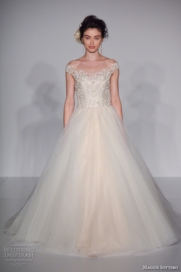 Maggie Sottero New York Bridal Week Fall 2016 Pretty Off The Shoulder A Line Wedding