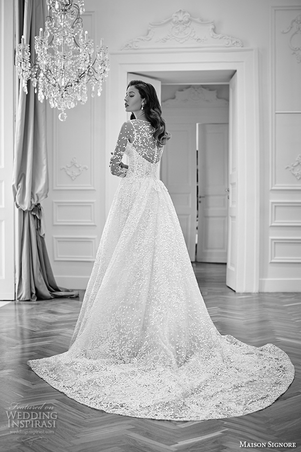 Maison Signore 2016 Bridal Gowns Beautiful A Line Ball Gown Wedding Dress Illusion Lace Long Sleeves