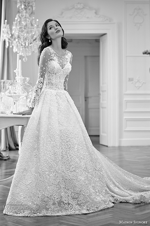 maison signore 2016 bridal gowns beautiful a line ball gown wedding dress  illusion lace long sleeves a21b895e4006