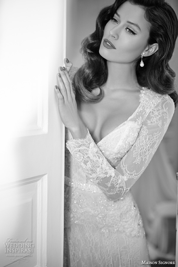 maison signore 2016 bridal gowns beautiful modified a  line wedding dress long lace sleeves v neckline overlay lace full skirt    jpg