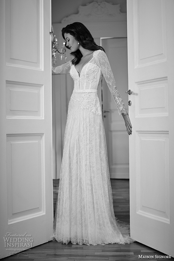 maison signore 2016 bridal gowns beautiful modified a  line wedding dress long lace sleeves v neckline overlay lace full skirt