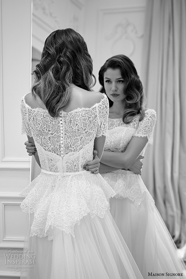 maison signore 2016 bridal gowns boat neckline lace neckline short sleeves peplum a  line wedding dress