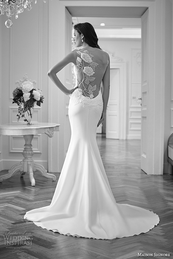maison signore 2016 bridal gowns gorgeous mermaid wedding dress floral embroidered at open back