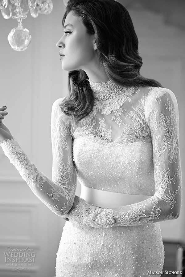 maison signore 2016 bridal gowns high neck long lace sleeves gorgeous mermaid wedding dress beaded lace embroidery closeup