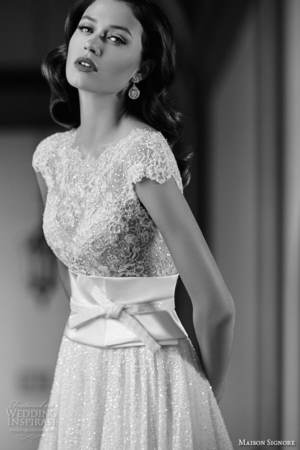 maison signore 2016 bridal gowns jewel neckline cap sleeves beaded lace embroidery ribbon belt sash flowly glitter a  line wedding dress