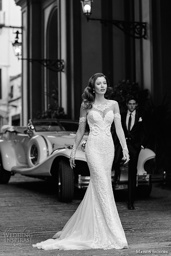 maison signore 2016 bridal gowns lace illusion neckline sweetheart neckline opera lace sleeves  sheath wedding dress chapel train
