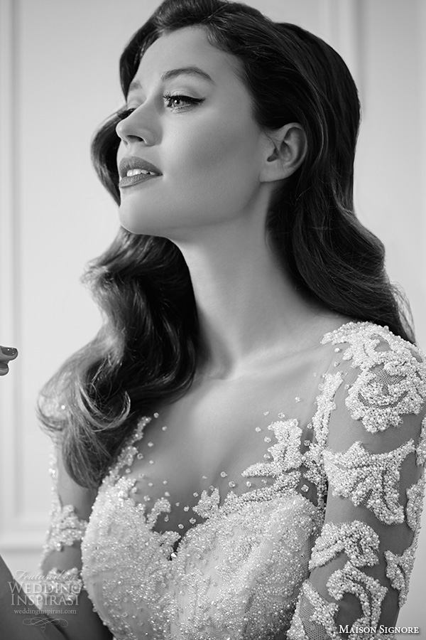 maison signore 2016 bridal gowns long illusion sleeves with beaded lace embroidery and bodice back chapel train wedding dress