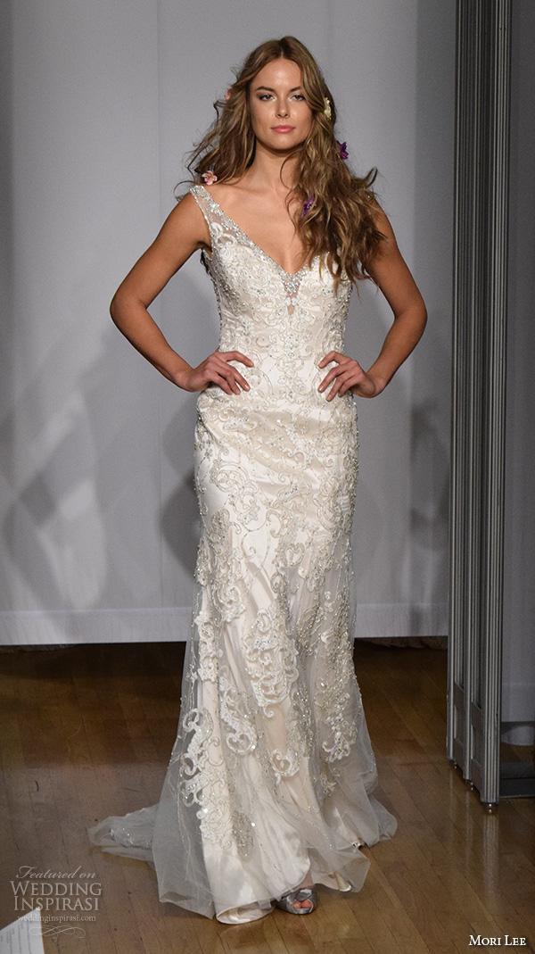 b37d1658 mori lee new york bridal fashion week 2015 beaded lace embroidered elegant  sheath wedding dress
