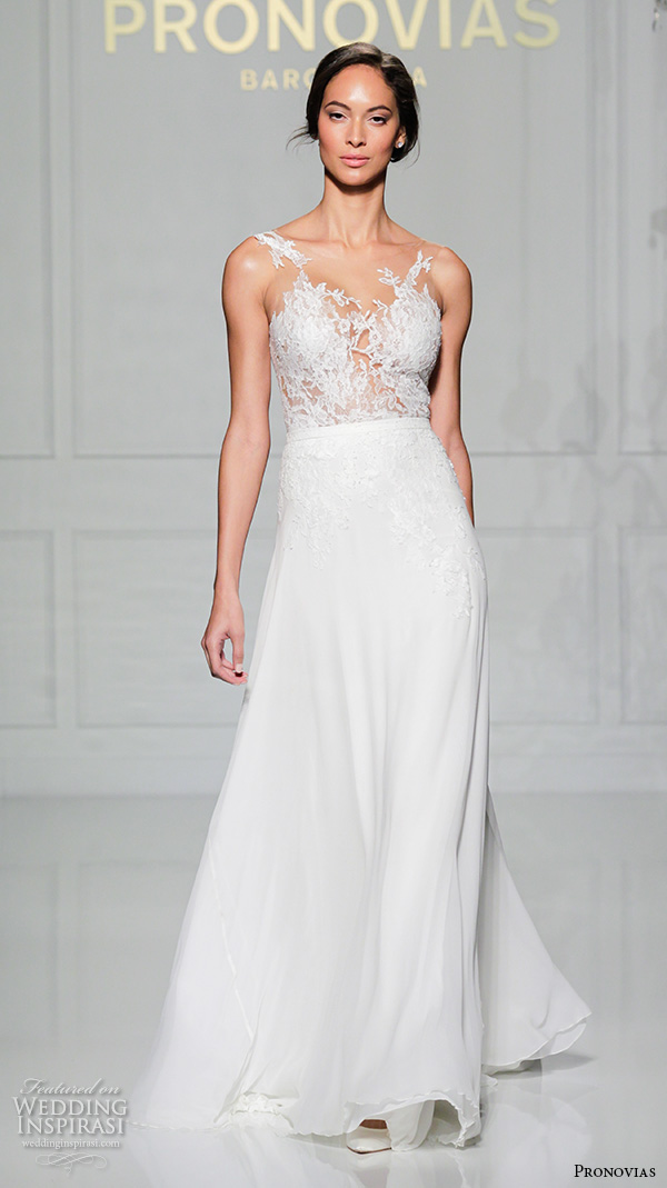 Pronovias 2016 wedding dresses new york bridal runway for Flower embroidered wedding dress