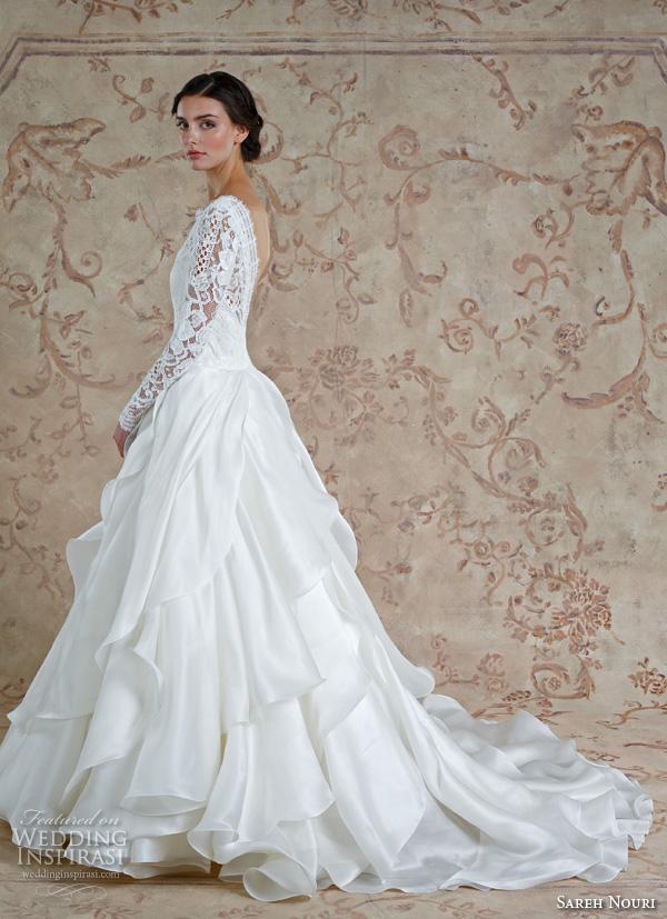 Sareh Nouri Fall 2016 Bridal Beautiful Cascading Layers A Line Wedding Dress Long Sleeves Bateau Neckline