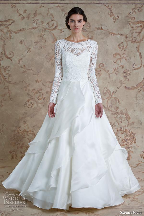 sareh nouri fall 2016 bridal beautiful cascading layers a  line wedding dress long sleeves bateau neckline style mona lisa
