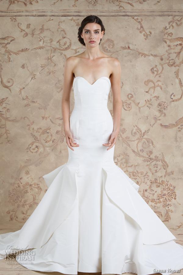 Sareh Nouri Fall 2016 Bridal Beautiful Chic Simple Mermaid Trumpet Wedding Dress Style Artemis