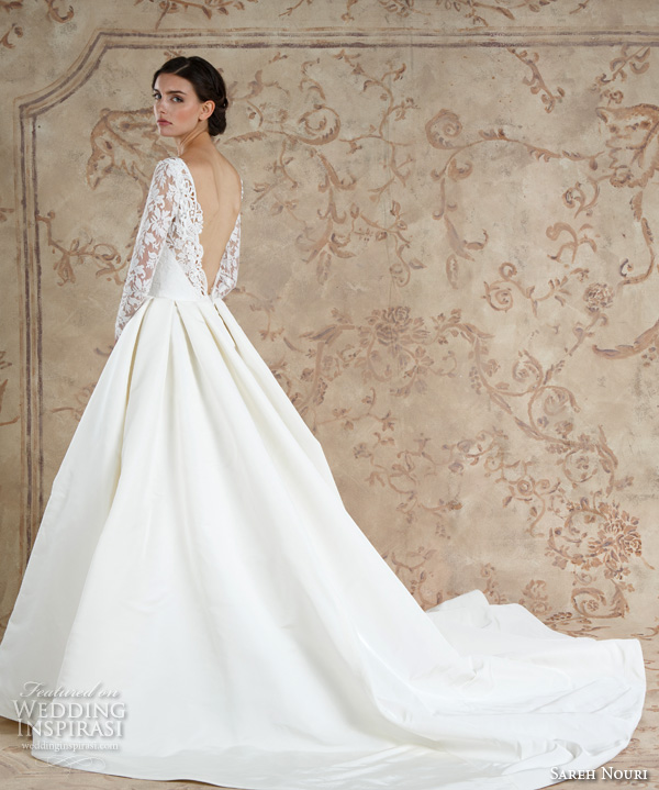 Sareh Nouri Fall 2016 Bridal Sexy Beautiful A Line Wedding Ball Gown Dress Long Sleeves Lace