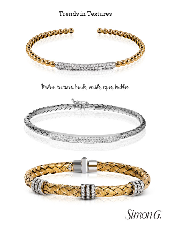 Simon G Jewelry Trends For 2017 Modern Textures Bracelet Braid Rope Bead Buckle Woven Gold