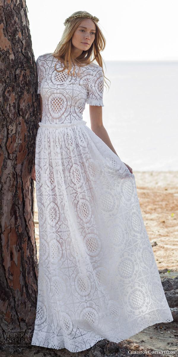 christos costarellos bridal spring 2016 romantic bohemian lace wedding dress short sleeves
