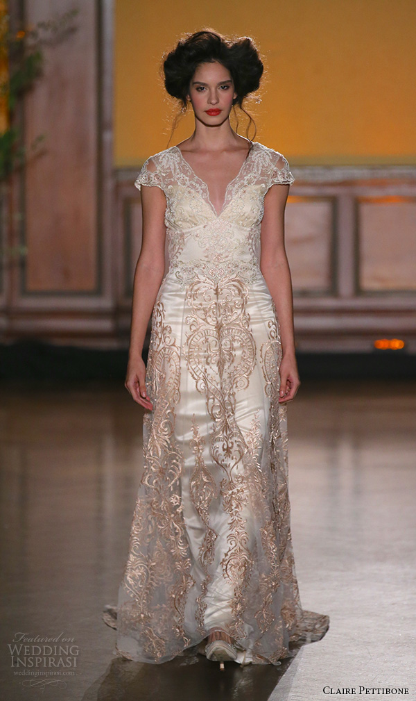 Claire pettibone fall 2016 wedding dresses the gilded for Flowy wedding dresses with sleeves