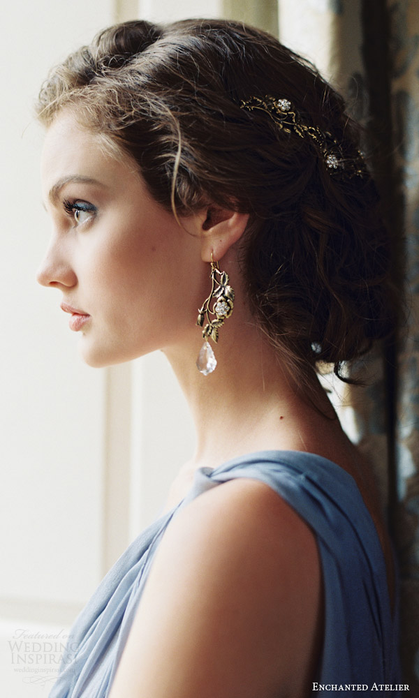 enchanted atelier liv hart fall 2016 bridal hair accessories dew drop earrings for wedding day look