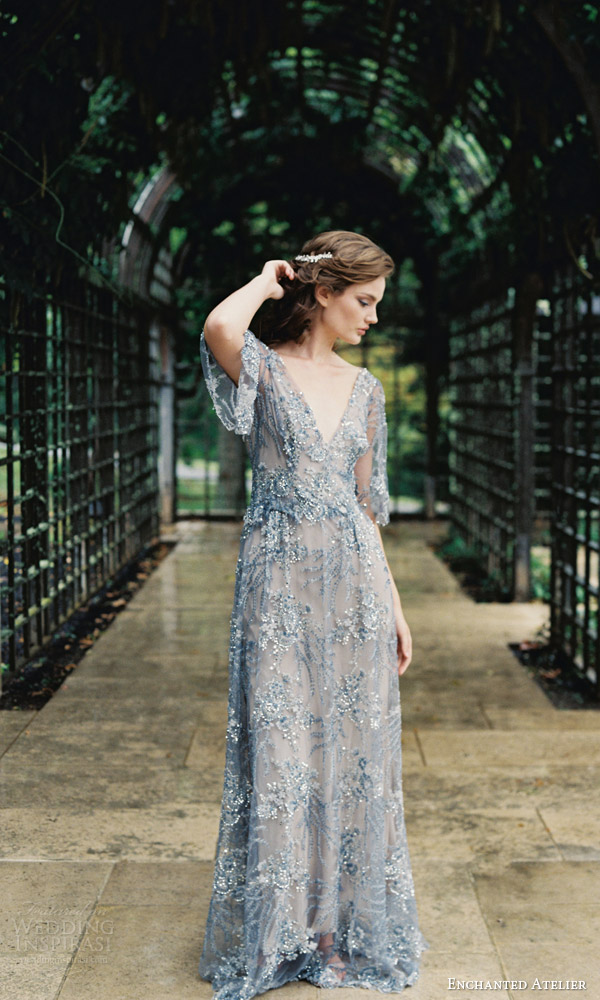 enchanted atelier liv hart fall 2016 bridal hair accessories jardin petite vine hair blue wedding dress