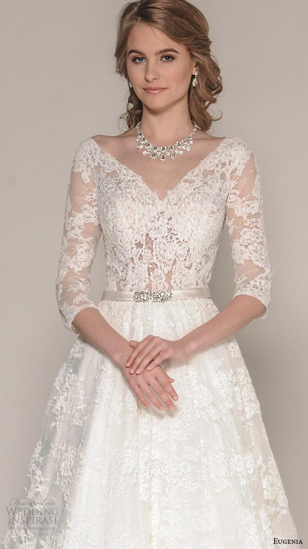 Eugenia couture fall 2016 wedding dresses wedding inspirasi for Lace three quarter sleeve wedding dress
