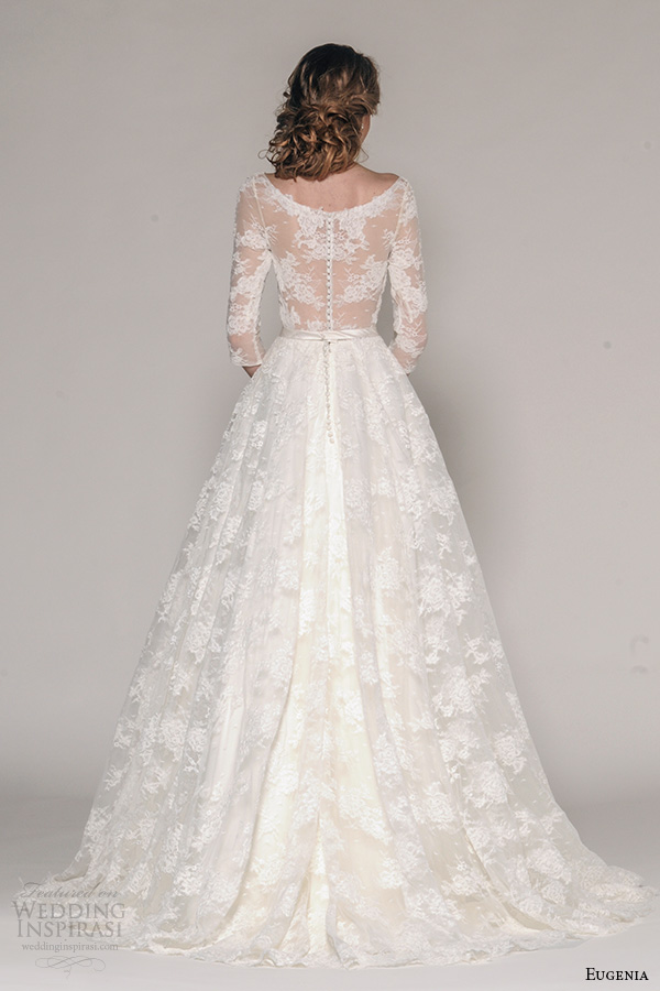 eugenia couture fall 2016 bridal 3 quarter sleeves v neckline lace embroider bodice a  line full skirt wedding dress style katherine