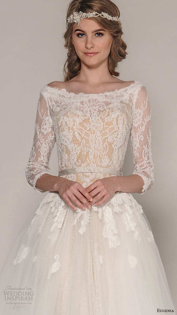 eugenia couture fall 2016 bridal bateau neckline 3 quarter sleeves lace embroidered bodice tulle a  line ball gown wedding dress style esmeralda