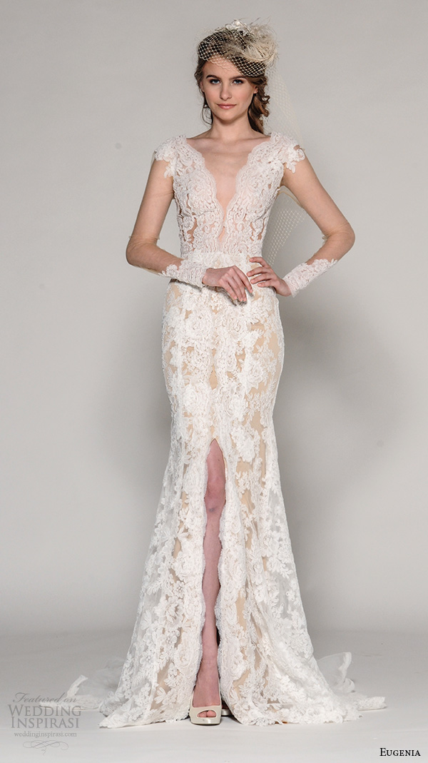Turmec silk v neck wedding dress for Wedding dress sleeve styles