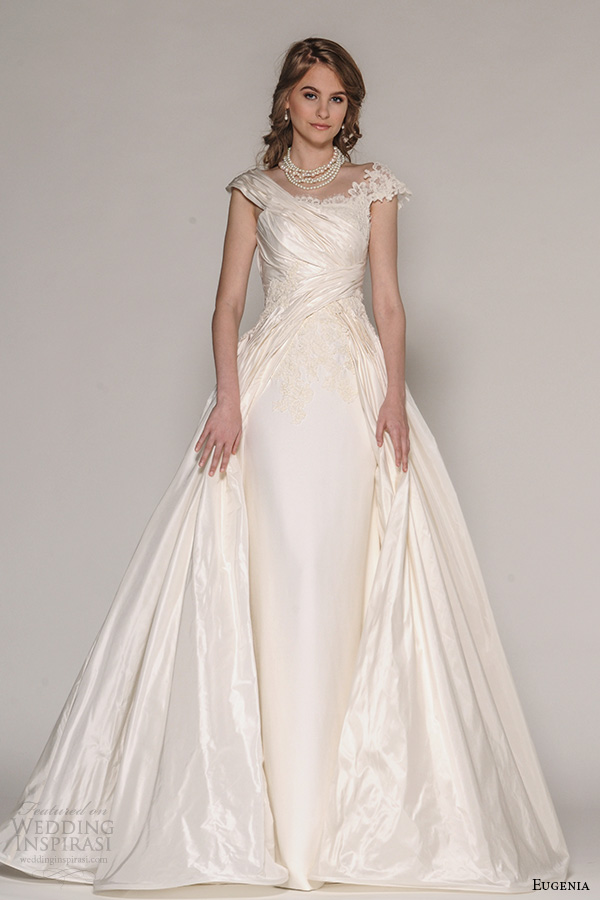 Eugenia Couture Fall 2016 Bridal Cap Sleeves Ruche Bodice Sheath Wedding Dress Full Length A Line