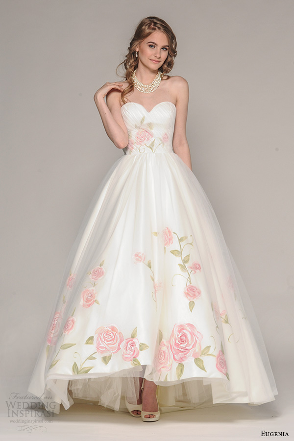 c57ac9d8a eugenia couture fall 2016 bridal strapless sweetheart neckline pretty hand  painted floral accent wedding ball gown.