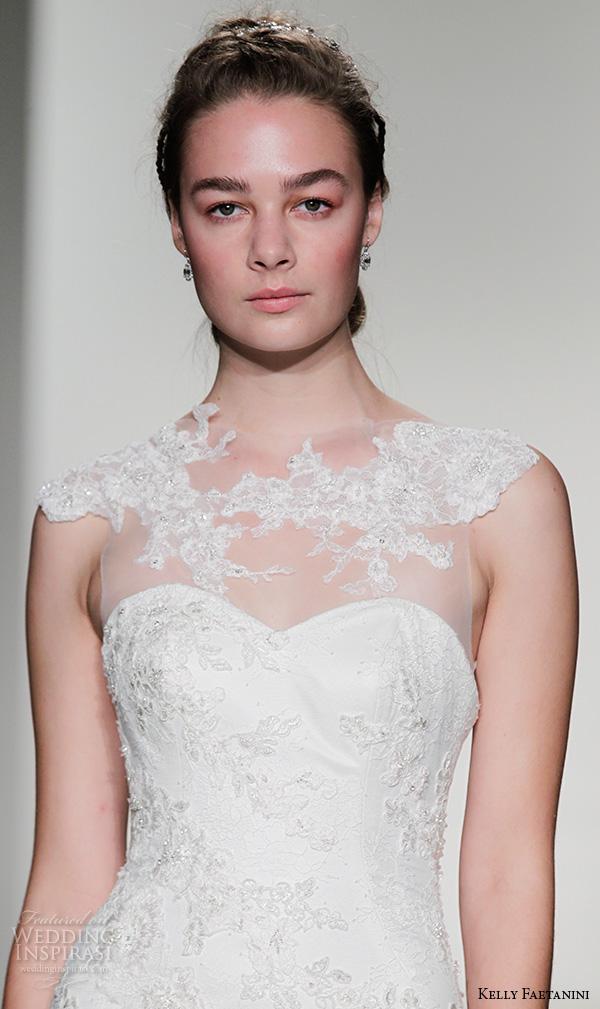 kelly faetanini fall 2016 bridal new york runway lace applique neckline cap sleeves sweethear cut foundation beaded embroidered mermaid wedding dress style polly