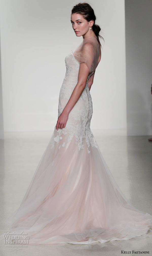 kelly faetanini fall 2016 bridal new york runway one shoulder tulle strap sweetheart neckline beaded crystal applique tulle skirt mermaid wedding dress style helen .