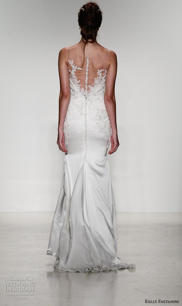 kelly faetanini fall 2016 bridal new york runway sleeveless sweetheart neckine illusion strap lace beaded applique sheath wedding dress style tash