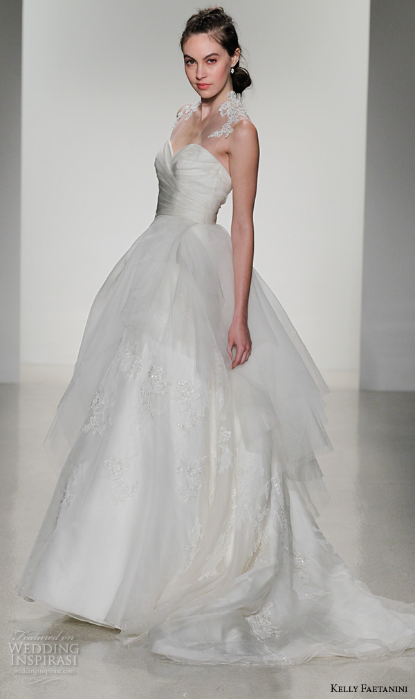 kelly faetanini fall 2016 bridal new york runway sleeveless sweetheart wrap bodice organza pleated wedding ball gown dress style jadis side