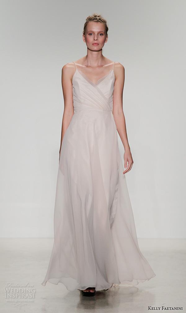 kelly faetanini fall 2016 bridal new york runway spagetti strap v neck a line wedding dress flowy chiffon gown