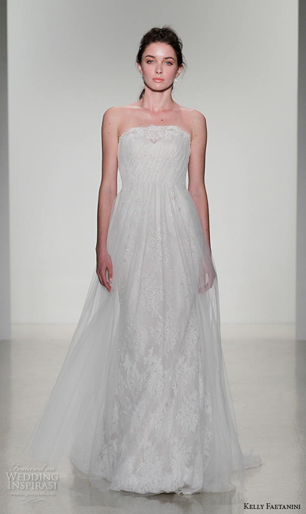 kelly faetanini fall 2016 bridal new york runway strapless lace straight across neckline beaded lace pleated tulle overlay a  line wedding dress style alberta