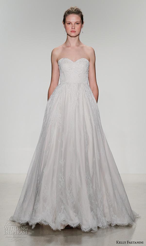 kelly faetanini fall 2016 bridal new york runway strapless sweetheart neckline beaded crystal applique a  line ball gown wedding dress style jewel