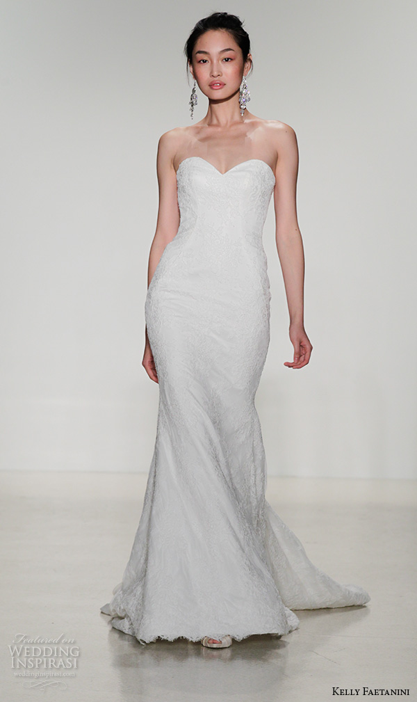kelly faetanini fall 2016 bridal new york runway strapless sweetheart neckline fit to flare mermaid wedding dress lace embroidered style ginger