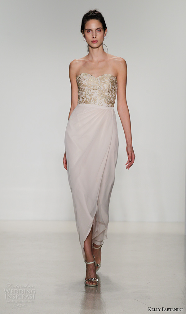 kelly faetanini fall 2016 bridal new york runway strapless sweetheart neckline gold color lace embroidered bodice detachable petal wrap dress style bs 105 bs 109