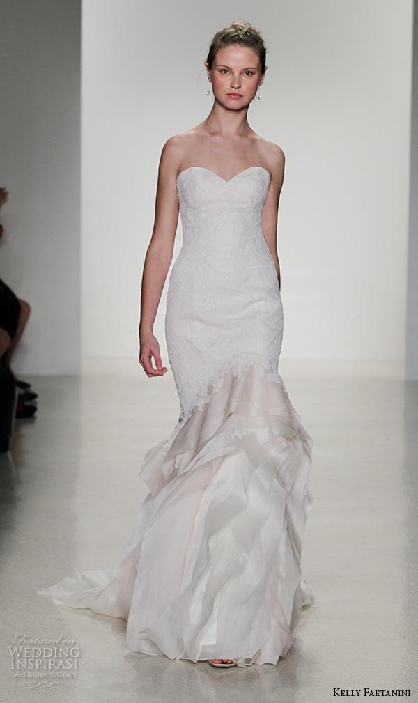 kelly faetanini fall 2016 bridal new york runway strapless sweetheart neckline organza blush skirt fit to flare mermaid wedding dress style lucy