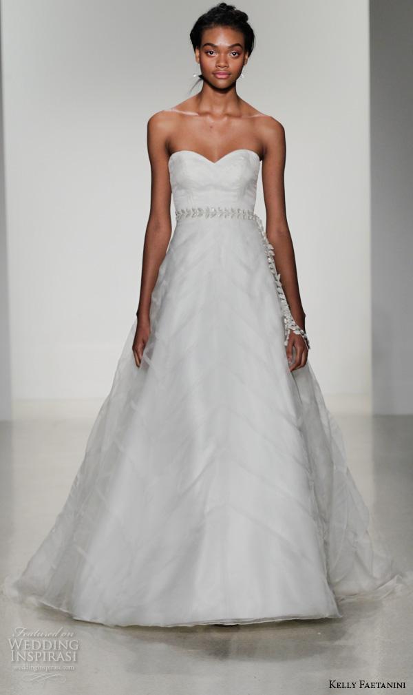 kelly faetanini fall 2016 bridal new york runway strapless sweetheart neckline organza wedding ball gown dress back cascading layer style tirian