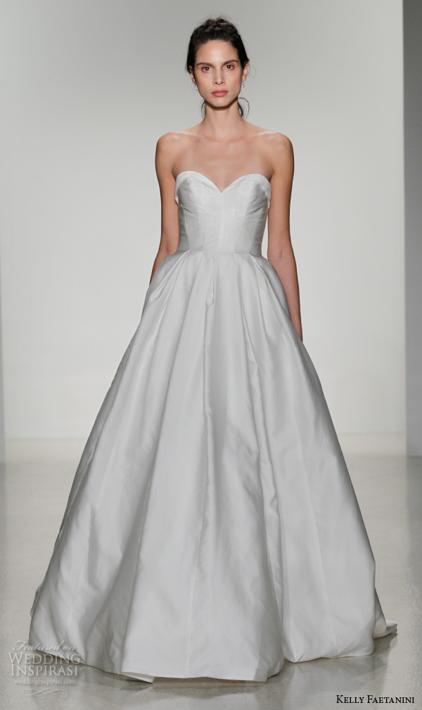 kelly faetanini fall 2016 bridal new york runway strapless sweetheart neckline seamed bodice ball gown wedding dress pleated skirt style jill