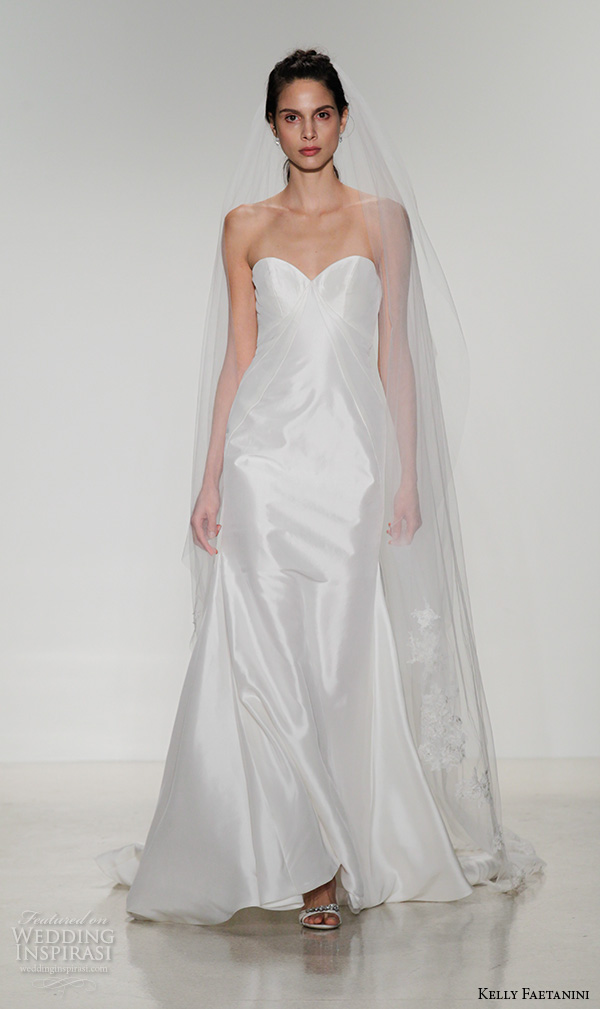 kelly faetanini fall 2016 bridal new york runway strapless sweetheart neckline shimmering silk fit to flare wedding dress style ivy