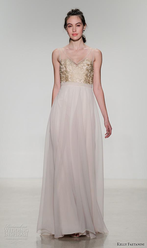 kelly faetanini fall 2016 bridal new york runway v neckline gold embroidered bodice chiffon a line flowy skirt wedding dress