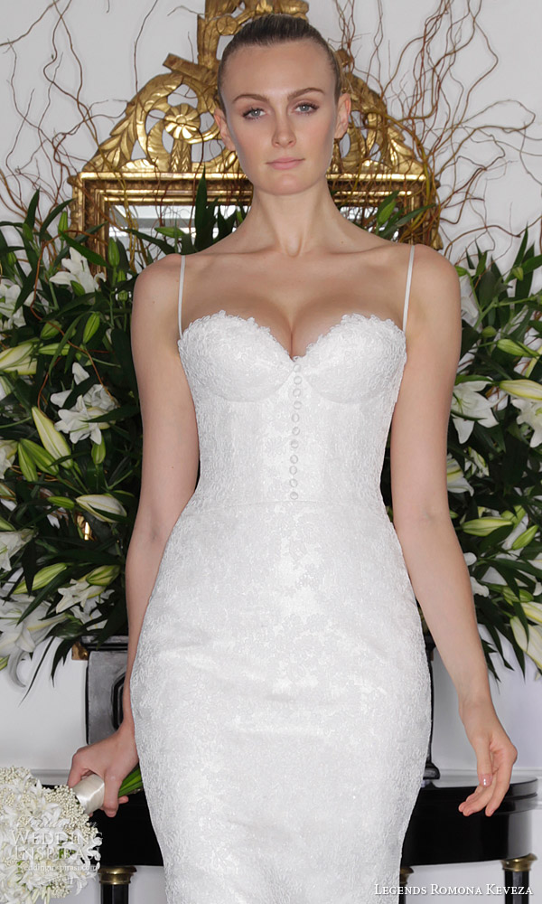 legends romona keveza fall 2016 elegant lace wedding dress spaghetti straps corset bodice zoom